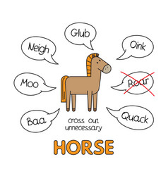 Cartoon horse kids learning game vector