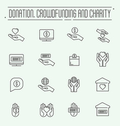 charity and donation modern line design vector image