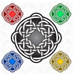 Circular cruciform logo template in celtic knots vector