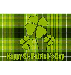 Clover on seamless check plaid background happy st vector