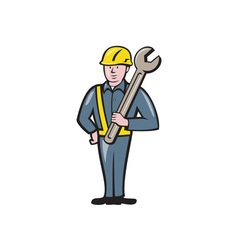 Construction worker spanner isolated cartoon vector