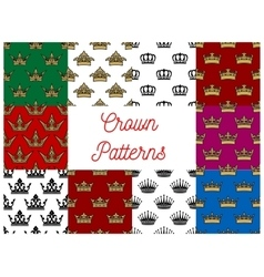 Crowns seamless patterns vector