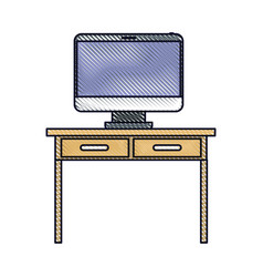 Desk table with drawers and desktop computer above vector