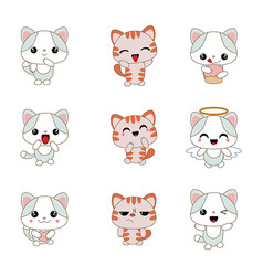different cartoon cats set different cartoon cats vector image vector image