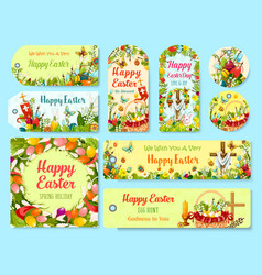 easter holiday symbols tag and greeting poster set vector image