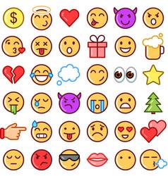 emoji faces simple icons thin line symbols vector image vector image