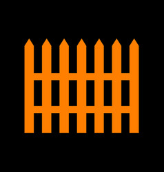 Fence simple sign orange icon on black background vector