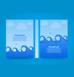 flyer sea wave banner book summer beach a4 size vector image vector image
