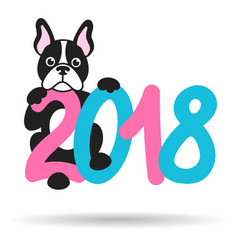 French bulldog and 2018 vector