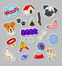 funny dogs doodle with puppy and toys vector image
