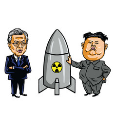Kim jong un vs moon jae in cartoon vector