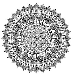 mandala monochrome design dot painting vector image