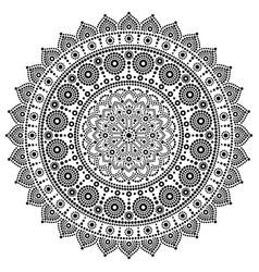 Mandala monochrome design dot painting vector