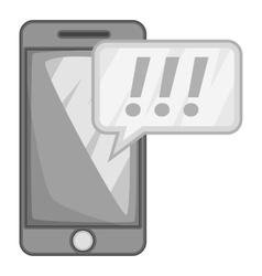 Mobile phone icon gray monochrome style vector