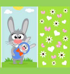 Mothers day background card with rabbit vector