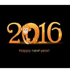 New Year card with monkey3 vector image vector image