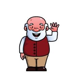 Old man waving at camera vector image vector image
