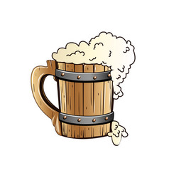 old wooden beer mug vector image