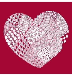 psychedelic heart with doodle Valentine s day vector image