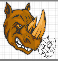 Rhino athletic design complete with rhinoceros vector