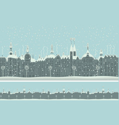 Seamless ornament with old winter town with snow vector
