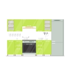 Modern interior kitchen room in green tones vector image
