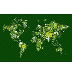 Globe world map with green icons vector