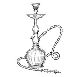 Hookah engraving style vector