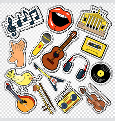 Music doodle with guitar microphone vector