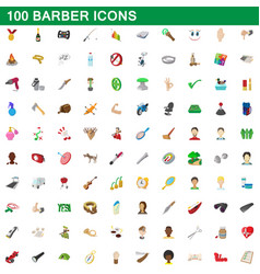 100 barber icons set cartoon style vector