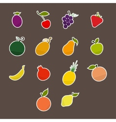 Silhouettes of fruit stickers vector