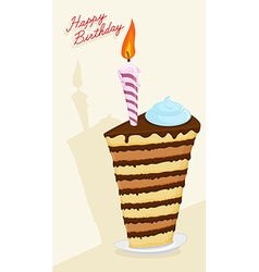 Cartoon high cake happy birthday postcard vector