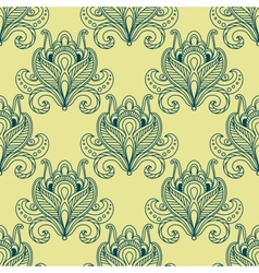 Paisley dense flower buds seamless pattern vector