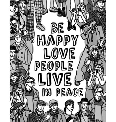 Love people positive emotion poster gray scale vector