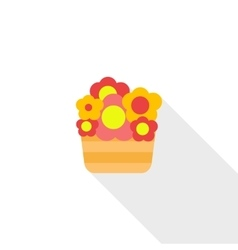 Basket with flowers icon flat style vector