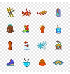 Winter icons set pop-art style vector