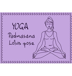 Outline girl in lotus yoga pose vector