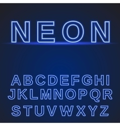 Neon alphabet glowing font vector