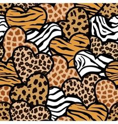 animal print hearts vector image