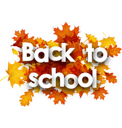 back to school background with leaves vector image