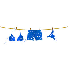 Bikini and boxer shorts hanging on rope vector