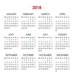 Calendar for 2018 year vector