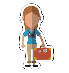 Cartoon tourist girl travel map and suitcase vector