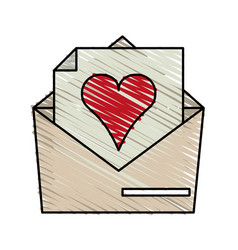 Color crayon stripe image envelope mail with heart vector