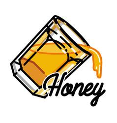 color vintage honey emblem vector image