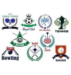 Competitive team sports heraldic emblems and logo vector image vector image