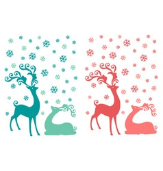 Cute Christmas deer couple vector image vector image