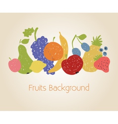 Doodle fruits background vector image