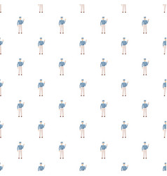 Doorman in a blue uniform pattern vector