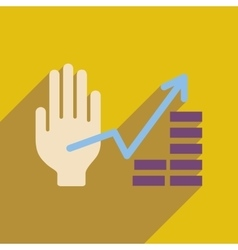 Flat web icon with long shadow hand graph vector
